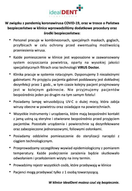 Środki bezpieczeństwa i dodatkowe procedury